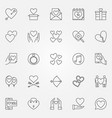 valentines day outline icons set love vector image