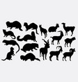 weasel and goat silhouette vector image vector image