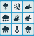 weather icons set with the flash sleet cold and vector image