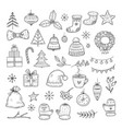 winter holiday doodle set sketch christmas gift vector image vector image