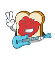 with guitar bread with jam mascot cartoon vector image vector image