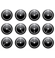 clock symbol set white on black isolated on white vector image