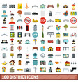 100 district icons set flat style vector image