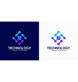 abstract technology logo template vector image vector image
