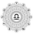 adult coloring book mandala zodiac symbol libra vector image