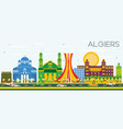 algiers skyline with color buildings and blue sky vector image vector image