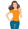Beautiful girl showing OK sign vector image vector image