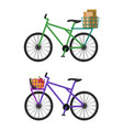 bicycles with baskets full of male envelopes and vector image vector image