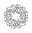 Black and white doodle wreath