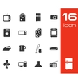 black home appliances icon set on white background vector image