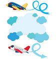 blue clouds and two airplanes flying vector image vector image