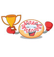boxing winner jelly donut mascot cartoon vector image vector image