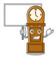 bring board grandfather clock character cartoon vector image vector image