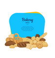cartoon bakery elements frame banner vector image