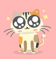 cartoon cat cheerful emotion pink background vector image vector image