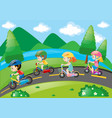 children cycling in the park at daytime vector image