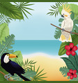 cockatoo and toucan leaves tropical beach vector image vector image