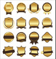 collection golden flat shields badges and vector image vector image