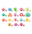 colorful bacteria cartoon characters set cute vector image