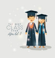 couple of graduates class of the year characters vector image