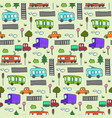 cute colorful cartoon city transport pattern vector image