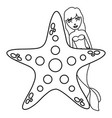 cute fairytale mermaid with starfish vector image