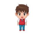cute little boy anime facial expression image vector image vector image
