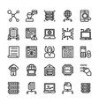 data management line icons set vector image vector image