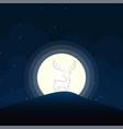 deer silhouette moonlight vector image vector image