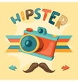 Design with photo camera in hipster style vector image vector image