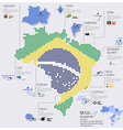 Dot And Flag Map Of Brazil Infographic Design vector image