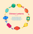 east chinese paper street or house lanterns banner vector image vector image