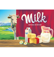 Farming landscape with dairy products vector image vector image