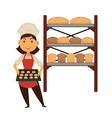 female baker with tray of cookies and stand with vector image