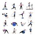 Fitness men women flat icons set vector image vector image