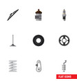 flat icon auto set of belt windshield spare vector image vector image