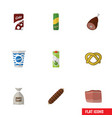 flat icon meal set of packet beverage smoked vector image vector image