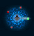 hacker unlock padlock on digital background vector image