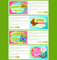 half price spring sale off stickers on web posters vector image vector image