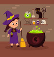 halloween witch sorceress brewing magic potion vector image