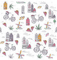 hand drawn amsterdam seamless background vector image