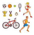 hand-drawn set of running people and sport items vector image vector image