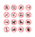 high quality prohibition signs collection isolated vector image vector image