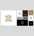 house crown logo design and business card vector image vector image