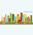 houston skyline with color buildings and blue sky vector image vector image