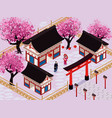 isometric japan composition vector image