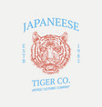 japanese tiger logo asian cat grunge label print vector image