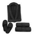 mock up black set spa towel slippers bathrobe vector image vector image