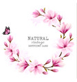 natural vintage greeting card with pink magnolia vector image vector image