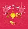 oriental chinese new year 2018 lantern background vector image vector image